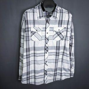 Eighty Eight Mens Shirt Black White Size XXL Plaid